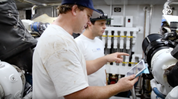maintenance training with ipads in the engine room