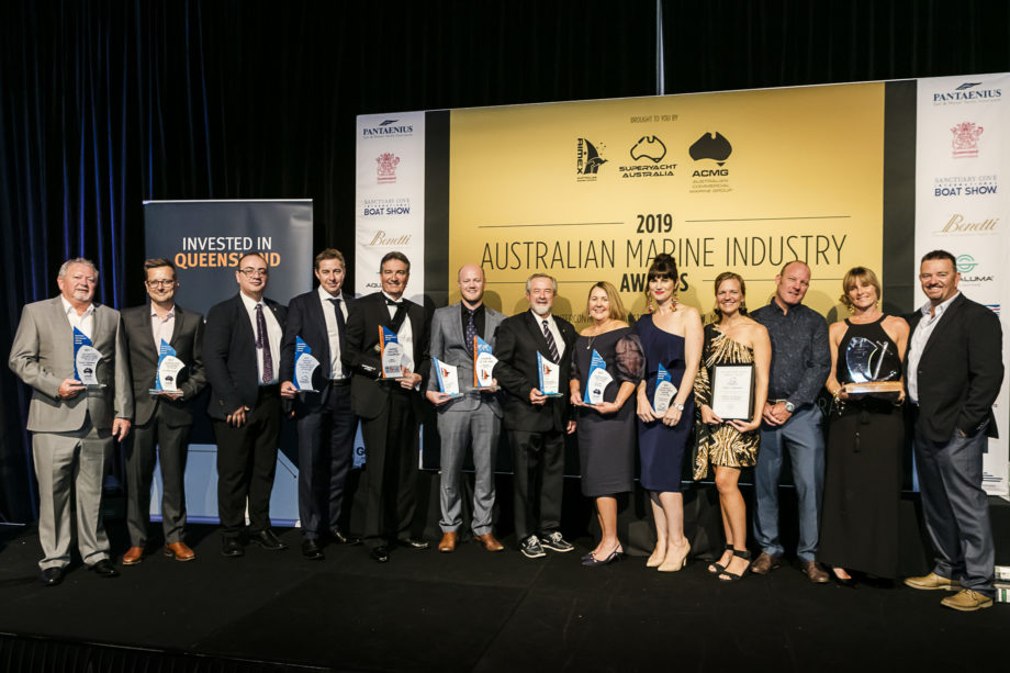 Matt Hyde (Centre) with 2019 Marine Award Winners